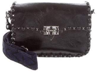 Valentino Guitar Rockstud Rolled Noir Crossbody Bag