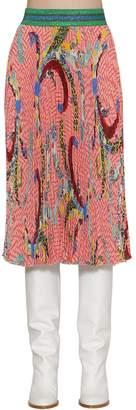 Stella Jean Asian Print Viscose Pleated Midi Skirt