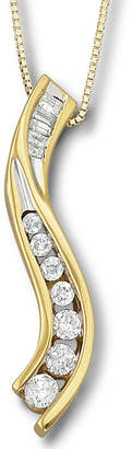 JCPenney FINE JEWELRY 1/4 CT.T.W. 14K/Silver Diamond Journey Pendant Necklace