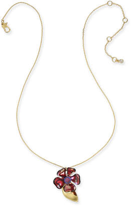 "Kate Spade Gold-Tone Crystal Flower Pendant Necklace, 16"" + 1"" extender"
