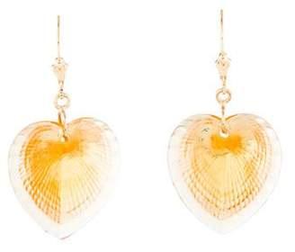Lalique 14K Crystal Heart Drop Earrings
