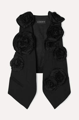 Ann Demeulemeester Appliquéd Wool-twill And Cotton Vest - Black