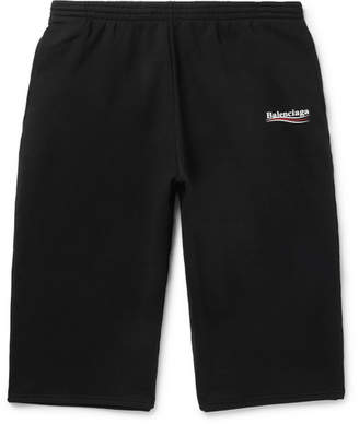 Balenciaga Printed Fleece-Back Cotton-Blend Jersey Drawstring Shorts