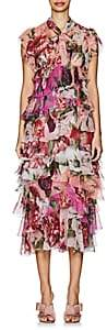 Dolce & Gabbana Women's Peony-Print Silk Chiffon Dress - Red