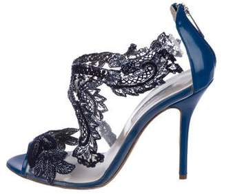Oscar de la Renta Embellished Caged Sandals
