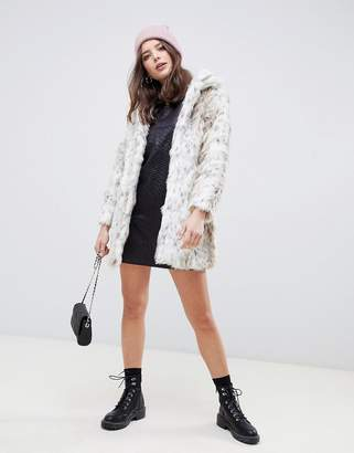 QED London single breasted snow leopard faux fur coat