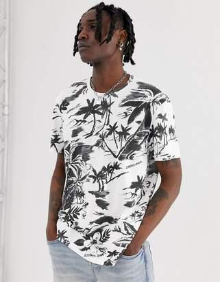 AllSaints t-shirt with monochrome tropical print
