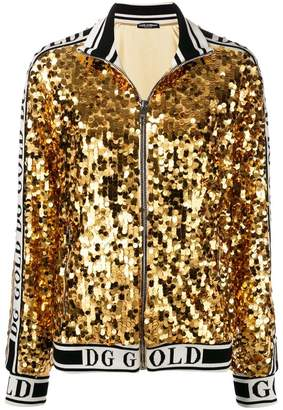 Dolce & Gabbana branded sequinned bomber jacket