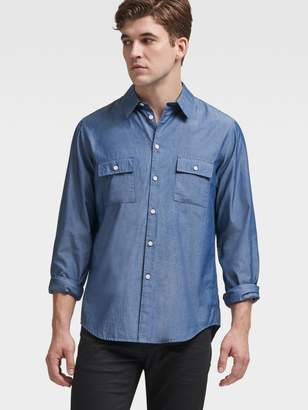 DKNY Woven Twill Button-Up Shirt