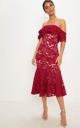 PrettyLittleThing Maroon Crochet Lace Bardot Fishtail Midi Dress
