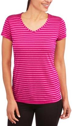 Danskin Women's Stripe V-Neck T-Shirt