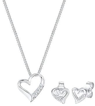 Diamore Women's 925 Sterling Silver Xilion Cut Diamond Heart Pendant Necklace Length of 45 cm
