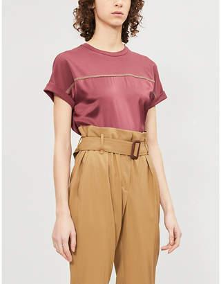 Brunello Cucinelli Beaded stretch-silk T-shirt