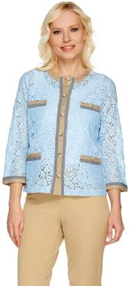 Linea By Louis Dell'olio by Louis Dell'Olio Lace Jacket with Trim Detail