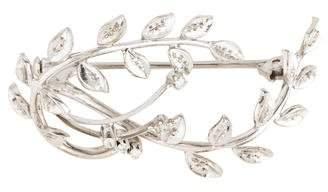 18K Diamond Branch Brooch