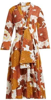 Dodo Bar Or Charlotte Floral Print Cotton Midi Dress - Womens - Brown Print