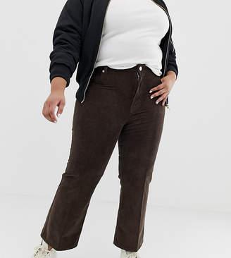 Asos DESIGN Curve Egerton rigid cropped kick flare jeans in vintage brown cord