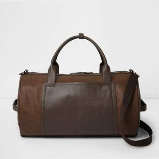 River Island Mens Tan brown panel holdall