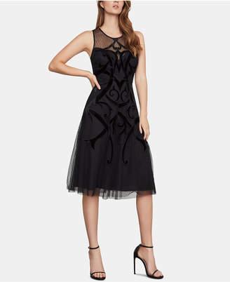 BCBGMAXAZRIA Illusion Velvet-Appliqué A-Line Dress