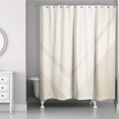 Color Block Shower Curtain in Ivory/Creme
