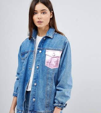 Chorus Tall Metallic Foil Pocket Oversized Denim Jacket
