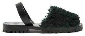 Goya - Shearling Slingback Sandals - Womens - Dark Green