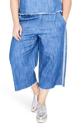 Rachel Roy Stripe Wide Leg Crop Chambray Pants