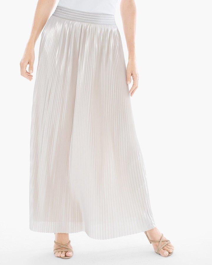 Chico'sPleated Metallic Maxi Skirt