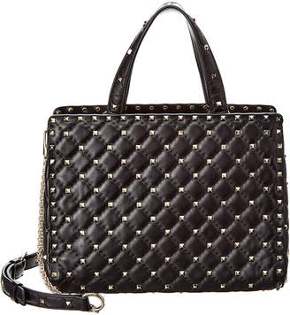 Valentino Rockstud Quilted Leather Tote