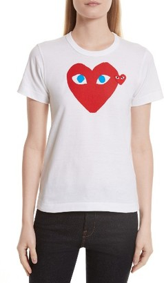 Women's Comme Des Garcons Play Heart Graphic Tee $118 thestylecure.com