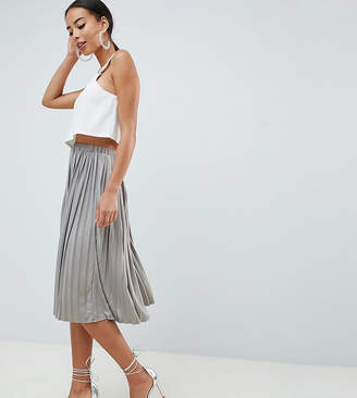 Missguided Tall Hammered Satin Pleated Midi Skirt In Metal Grey