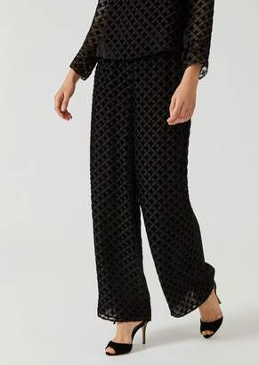 Emporio Armani Silk Blend Palazzo Pants With Diamond Pattern In Flocked Fabric