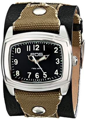 EOS New York Unisex 92LBLKGRY Fuse Two Tone Leather Strap Watch
