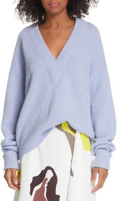 Tibi V-Neck Airy Alpaca Blend Sweater
