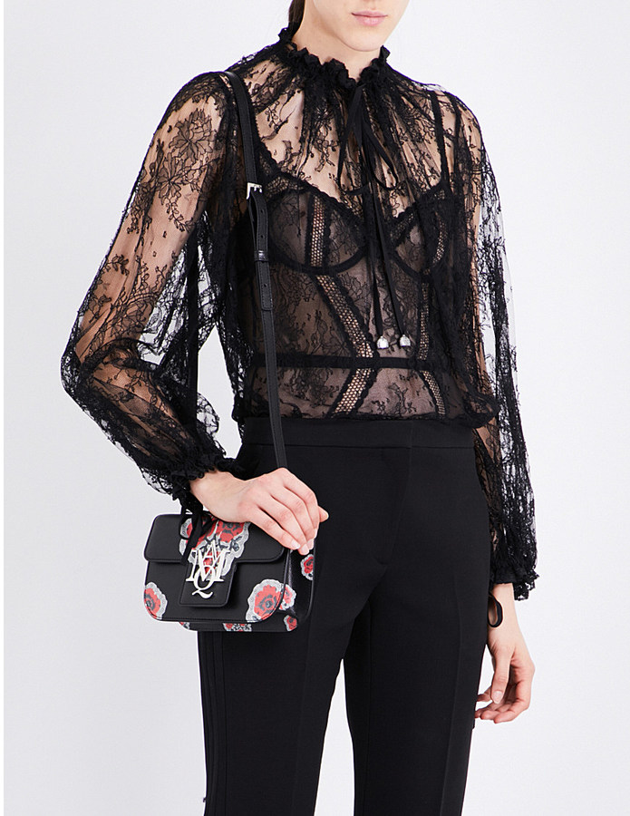 Alexander McQueenAlexander Mcqueen Ruched floral-lace blouse