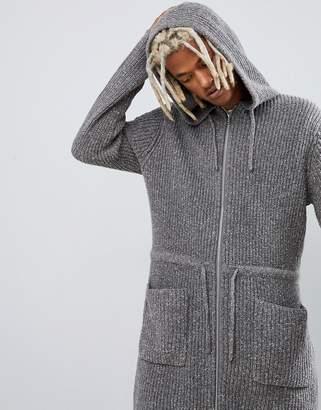 Asos Design DESIGN ribbed parka jacket in gray