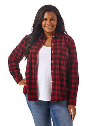 Lee Indigo Women's Plus Size Long Sleeve Button Front Pattern Fleece Shirt
