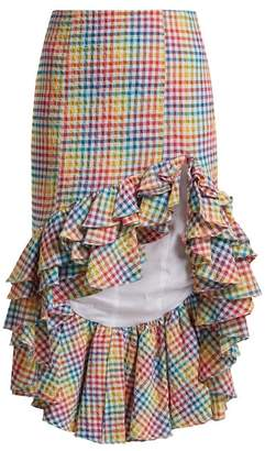 Caroline Constas Ruffled Asymmetric Hem Gingham Skirt - Womens - Multi