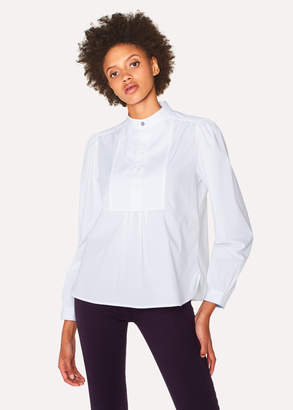 Paul Smith Women's White Band-Collar Stretch-Cotton Shirt