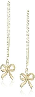 14k Gold Bow Threader Dangle Earrings