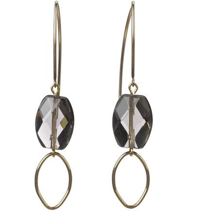 Deborah Grivas Designs Smoke Topaz Drop Loop Earrings