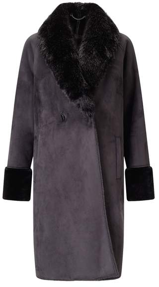 Shawl Collar Faux Fur Coat