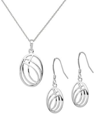Sterling Overlapping Oval Pendant & Earrings Set
