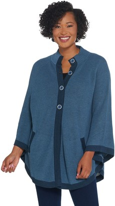 Laurie Felt Button Front Mock-Neck Poncho Sweater