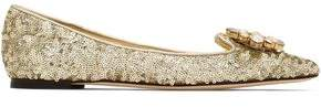 Dolce & Gabbana Crystal-Embellished Sequined Leather Point-Toe Flats