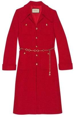 Gucci Tweed coat with horsebit belt