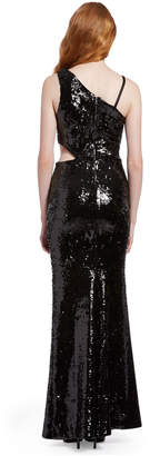 Alice + Olivia KAITLYN SEQUIN CUT OUT GOWN