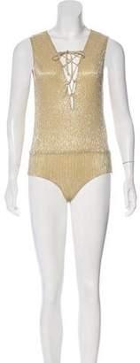 Anine Bing Sleeveless Metallic Bodysuit