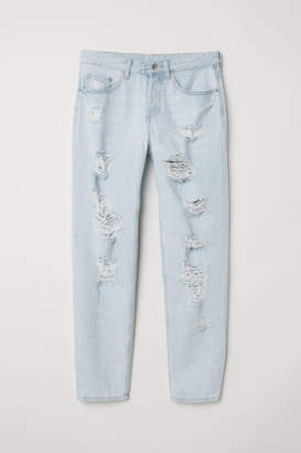 H&M Boyfriend Low Ripped Jeans - Blue