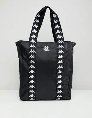 Kappa Black Tote Shopper Bag With Branded Taping